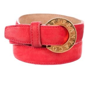 SALE Red Suede Tiffany & Co Logo Belt